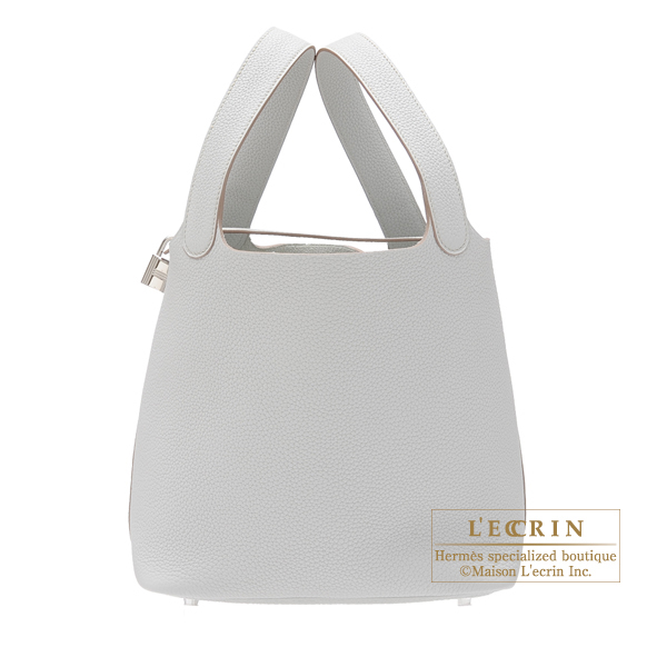 Hermes Picotin Lock bag MM Pearl grey Clemence leather Silver hardware