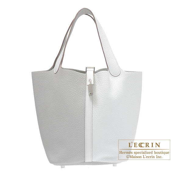 Hermes Picotin Lock casaque  bag MM Pearl grey/White Clemence leather Silver hardware