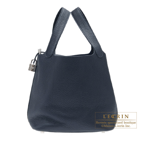Hermes Picotin Lock bag MM Blue obscurs Clemence leather Silver hardware