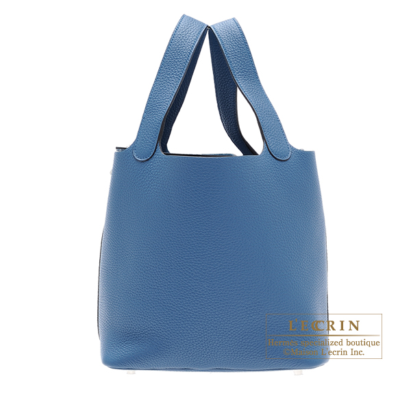 Hermes Picotin Lock bag MM Blue thalassa Clemence leather Silver hardware