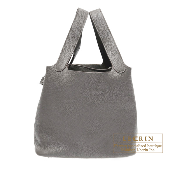 Hermes Picotin Lock bag MM Etain Clemence leather Silver hardware