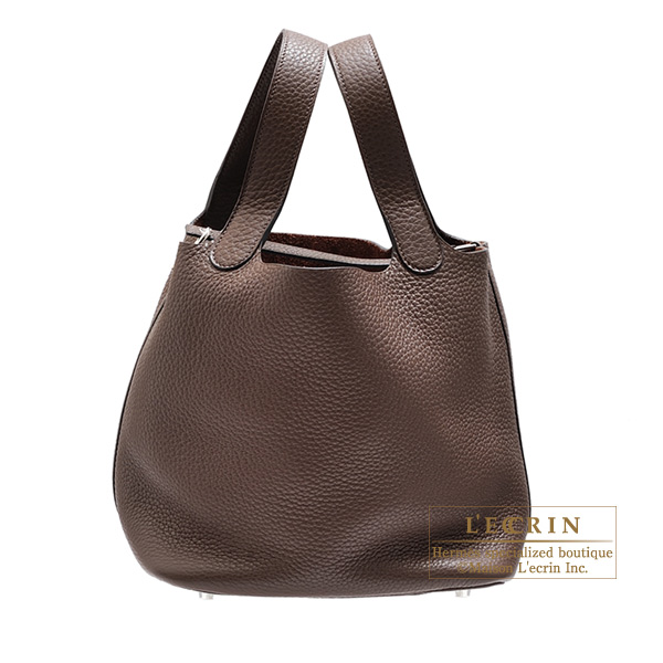 Hermes Picotin Lock bag MM Cacao Clemence leather Silver hardware