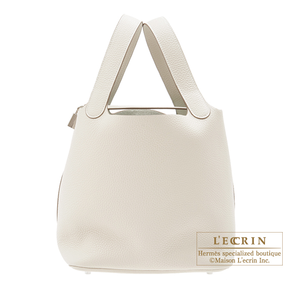 Hermes Picotin Lock bag MM Craie Clemence leather Silver hardware
