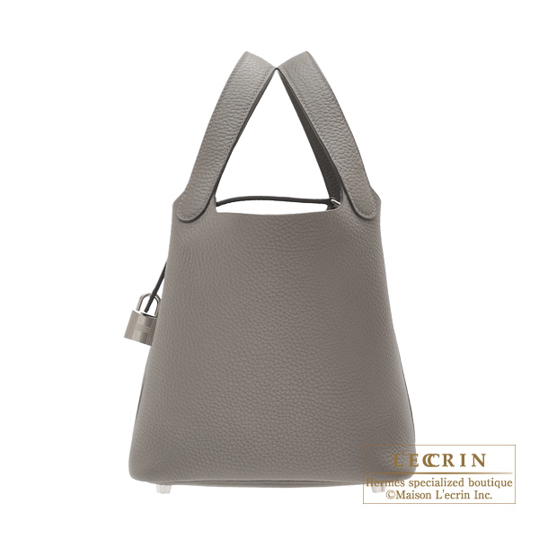 Hermes Picotin Lock bag PM Etain Clemence leather Silver hardware