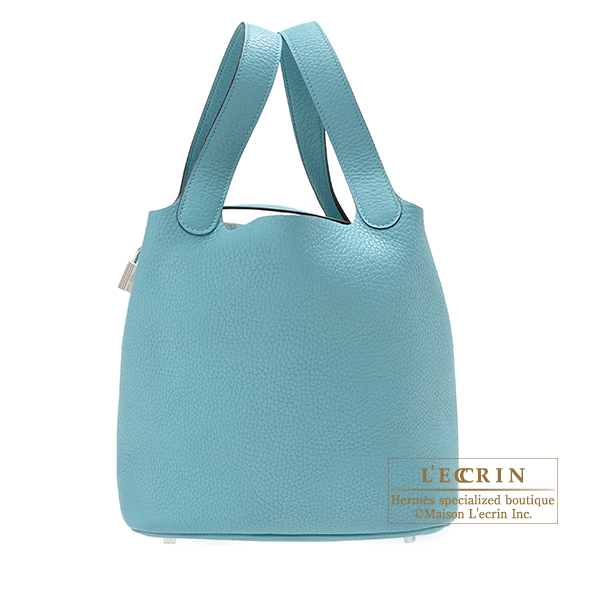 Hermes Picotin Lock bag MM Blue Saint-Cyr Clemence leather Silver hardware