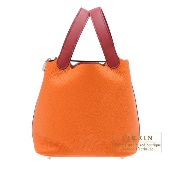 Hermes Picotin Lock Touch bag MM Orange/Rouge grenat Clemence leather/ Swift leather Silver hardware