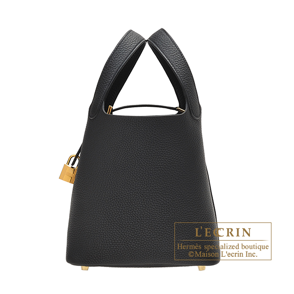 Hermes Picotin Lock bag PM Black Clemence leather Gold hardware