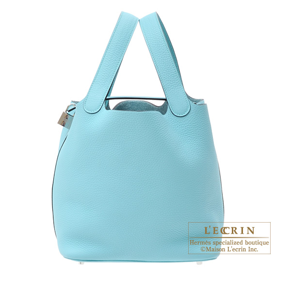 Hermes Picotin Lock bag MM Blue atoll Clemence leather Silver hardware