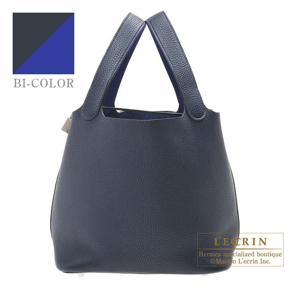 Hermes Picotin Lock Eclat bag MM Blue nuit/ Blue electric Clemence leather/ Swift leather Silver hardware