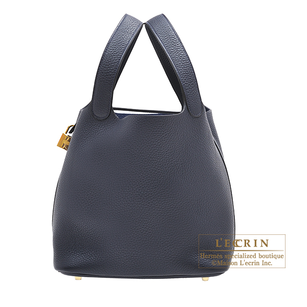 Hermes Picotin Lock bag MM Blue nuit Clemence leather Gold hardware