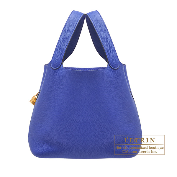 Hermes Picotin Lock bag MM Blue electric Clemence leather Gold hardware