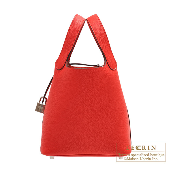 Hermes Picotin Lock bag PM Rouge coeur Clemence leather Silver hardware