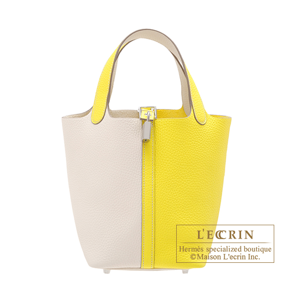 Hermes Picotin Lock casaque bag PM Bi-color Lime/Nata Clemence leather Silver hardware