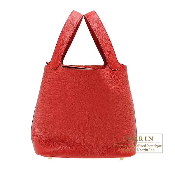 Hermes Picotin Lock bag MM Rouge casaque Clemence leather Gold hardware