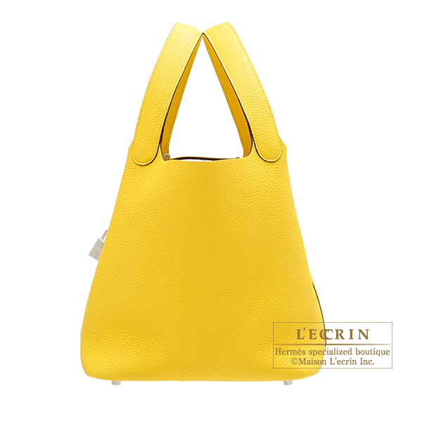 Hermes Picotin Lock bag MM Jaune de naples Clemence leather Silver hardware
