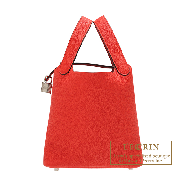 Hermes Picotin Lock bag PM Rouge coeur Maurice leather Silver hardware