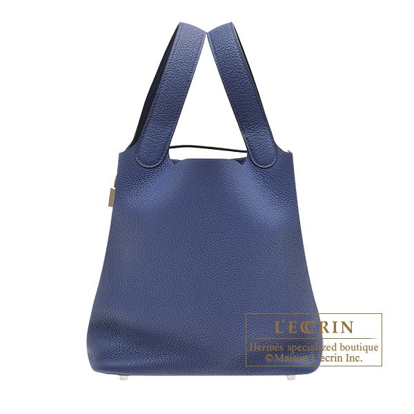 Hermes Picotin Lock bag MM Blue saphir Maurice leather Silver hardware
