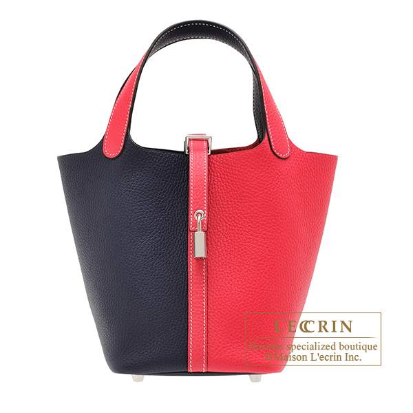 Hermes Picotin Lock casaque bag PM Bi-color Rose extreme/ Blue nuit Clemence leather Silver hardware