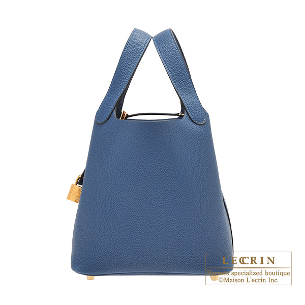 Hermes Picotin Lock bag PM Deep blue Maurice leather Gold hardware