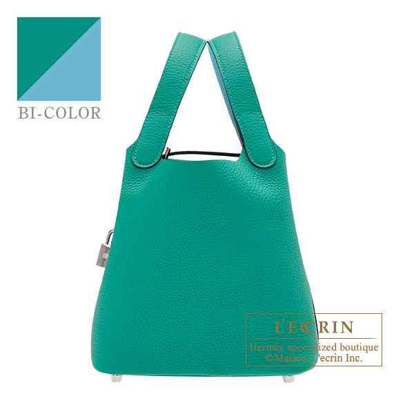 Hermes Picotin Lock Eclat bag PM Vert verone/ Blue du nord Clemence leather/ Swift leather Silver hardware