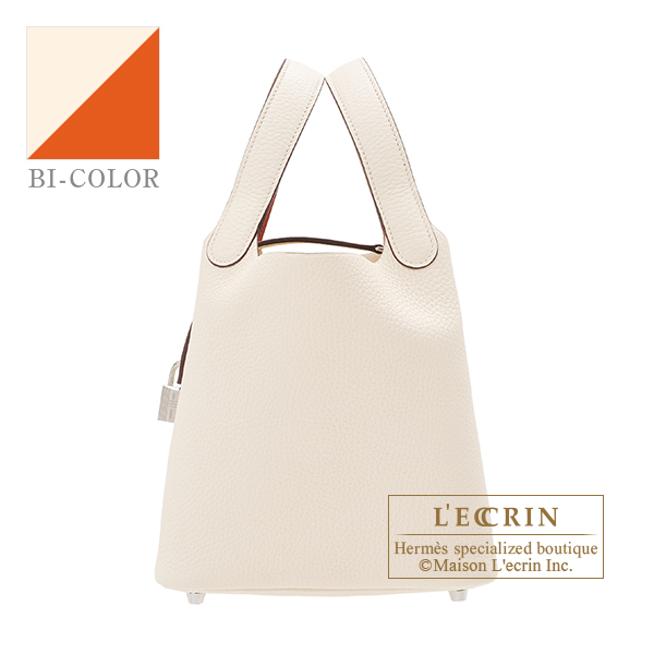Hermes Picotin Lock Eclat bag PM Nata/ Terre battue Clemence leather/Swift leather Silver hardware