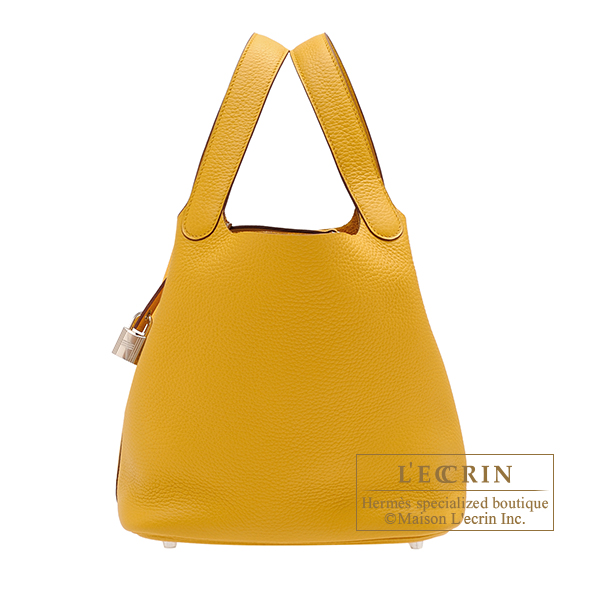 Hermes Picotin Lock bag MM Jaune ambre Clemence leather Silver hardware