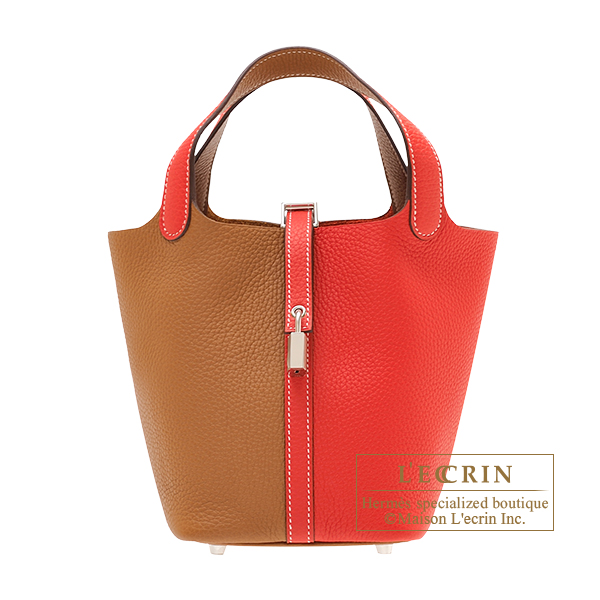 Hermes Picotin Lock casaque bag PM Bi-color Rouge coeur/ Gold Clemence leather Silver hardware