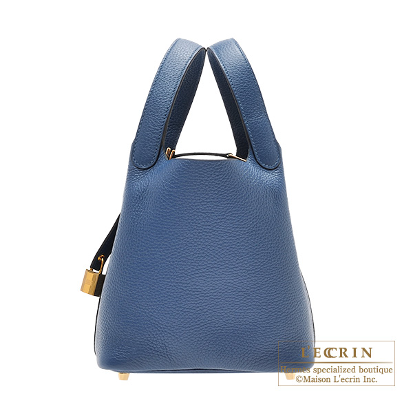 Hermes Picotin Lock bag PM Deep blue Clemence leather Gold hardware