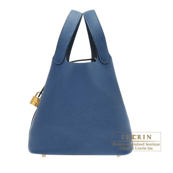 Hermes Picotin Lock bag MM Deep blue Clemence leather Gold hardware
