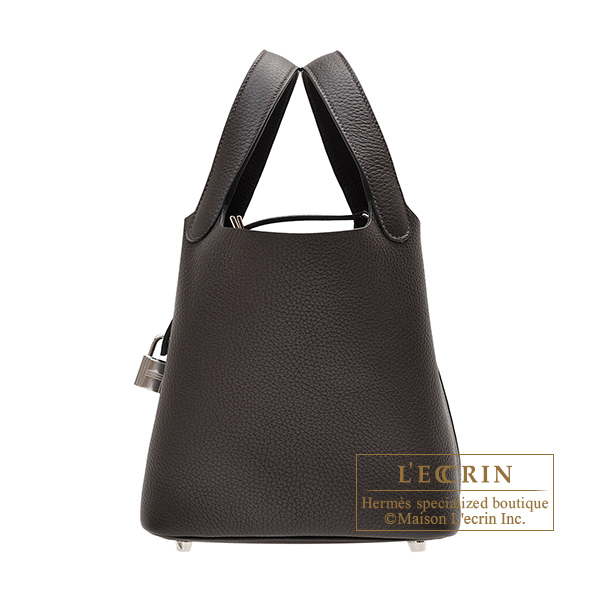 Hermes Picotin Lock bag PM Ebene Clemence leather Silver hardware