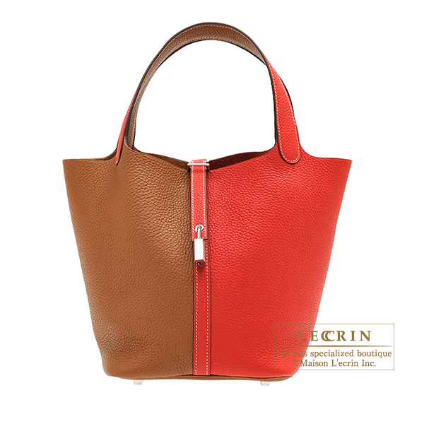 Hermes Picotin Lock casaque bag MM Rouge coeur/ Gold Clemence leather Silver hardware