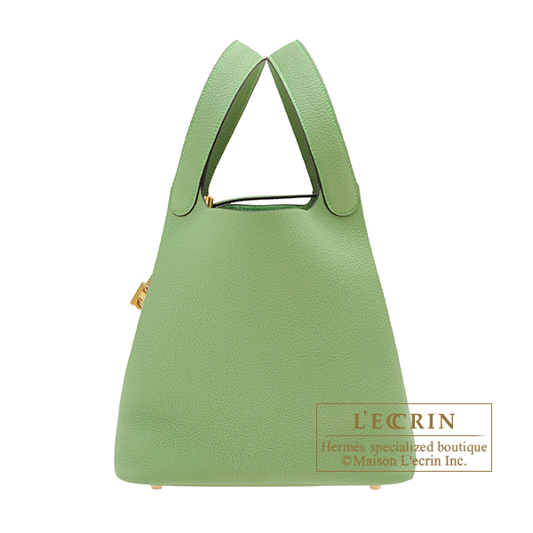 Hermes Picotin Lock bag MM Vert criquet Maurice leather Gold hardware