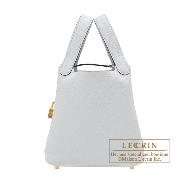 Hermes Picotin Lock bag PM Blue pale Clemence leather Gold hardware