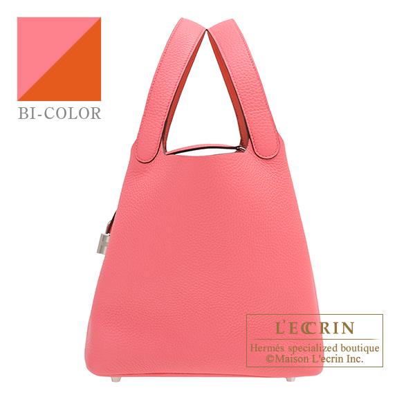 Hermes Picotin Lock Eclat bag MM Rose azalee/ Terre battue Clemence leather/Swift leather Silver hardware