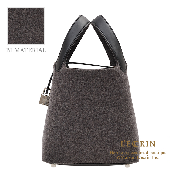 Hermes Picotin Lock bag PM Gris moyen/ Black Felt/ Swift leather Silver hardware