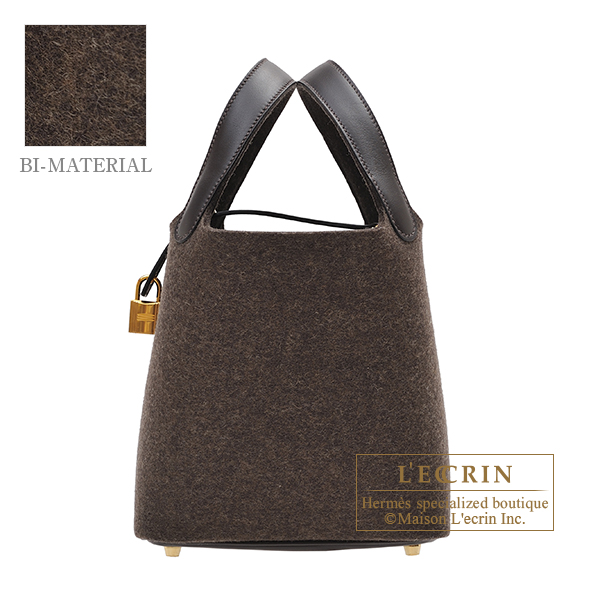 Hermes Picotin Lock bag PM Ebene/Ebene Felt/ Swift leather Gold hardware