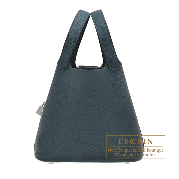 Hermes Picotin Lock bag MM Vert cypres Clemence leather Silver hardware