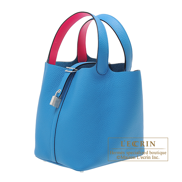 Hermes Picotin Lock Eclat bag MM Blue frida/ Rose mexico Clemence leather/Swift leather Silver hardware