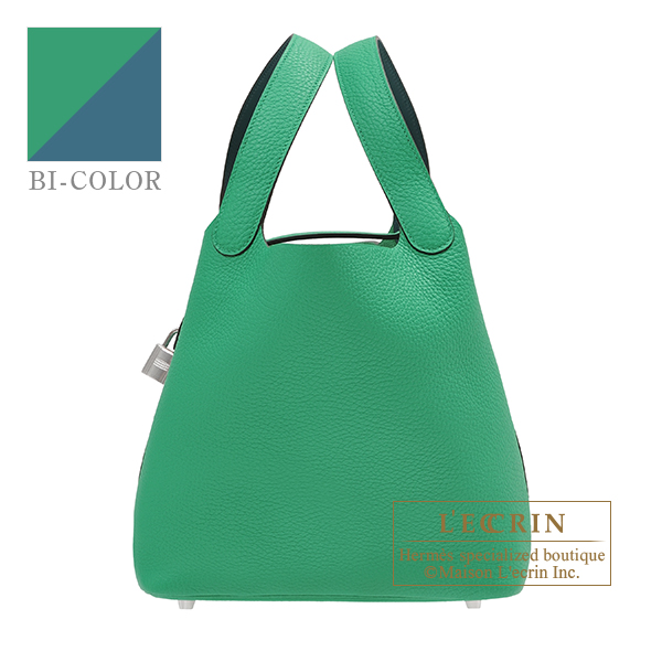 Hermes Picotin Lock Eclat bag MM Menthe/ Vert bosphore Clemence leather/Swift leather Silver hardware